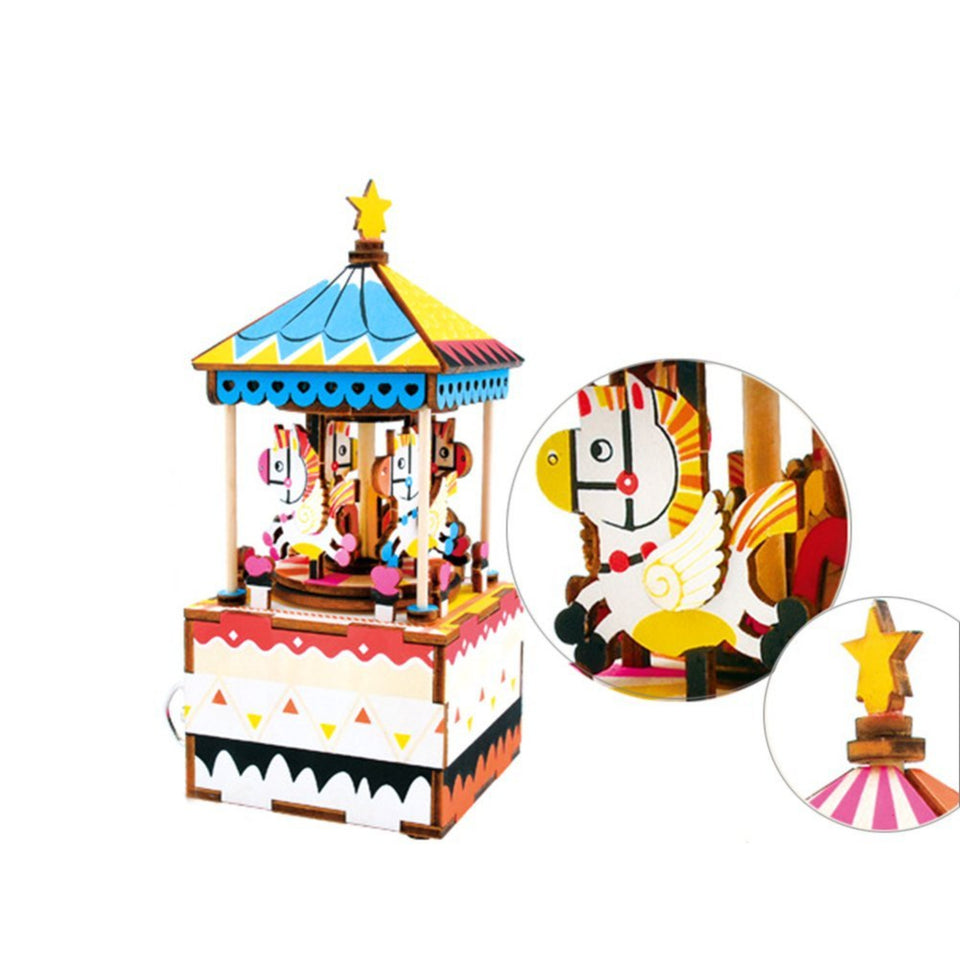 DIY 3D Wooden Puzzle Music Box: Merry-go-round