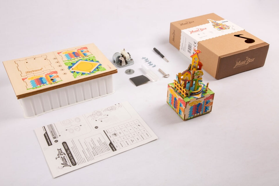 AM307 DIY 3D Wooden Puzzle Music Box: Castle In The Sky