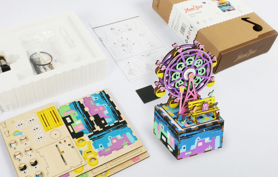 AM402 DIY 3D Wooden Puzzle Music Box: Ferris Wheel