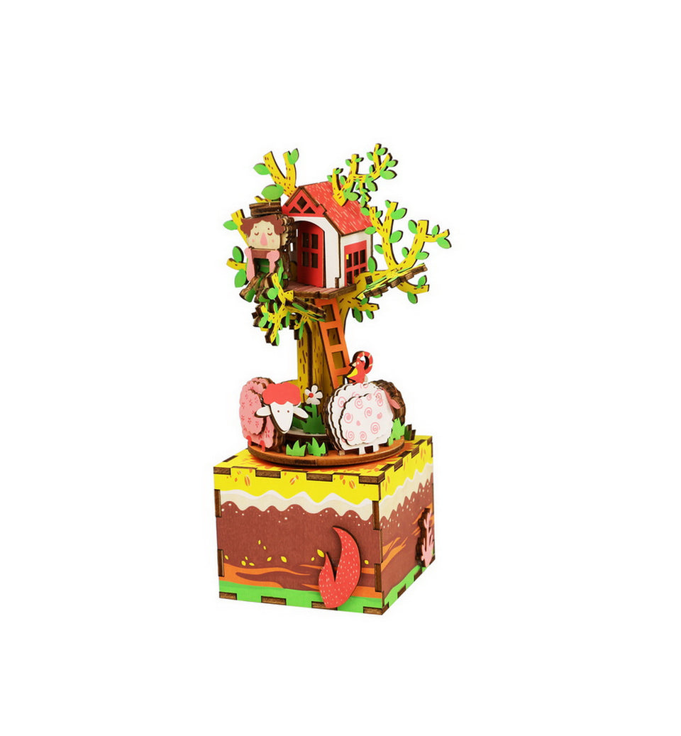AM408 DIY 3D Wooden Puzzle Music Box: Tree House