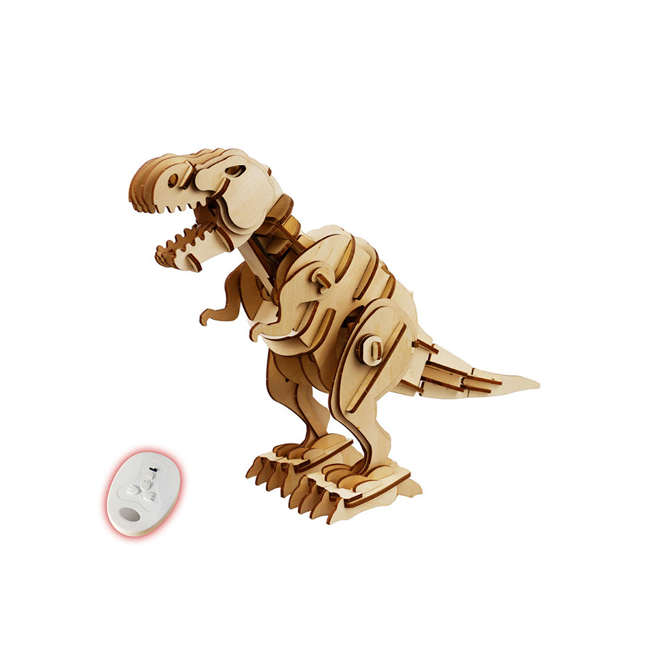 Hands Craft D200 DIY Laser-Cut 3D Wooden Puzzle R/C,Sound Control,Light Control T-Rex