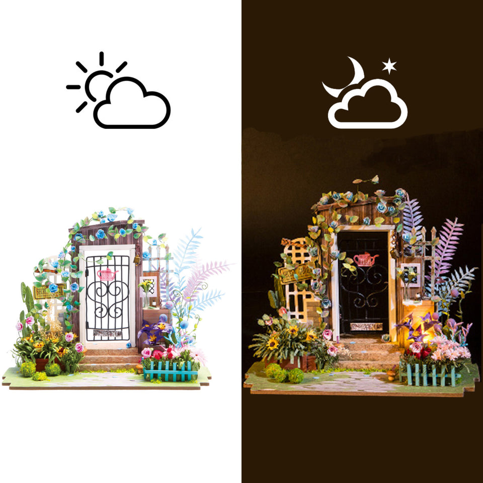 DGM02 DIY 3D Wooden Puzzle Miniature House: Garden Entrance