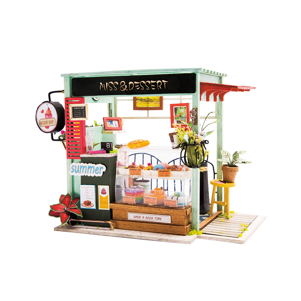 DGM06 DIY 3D Wooden Puzzle Miniature House: Ice Cream Station