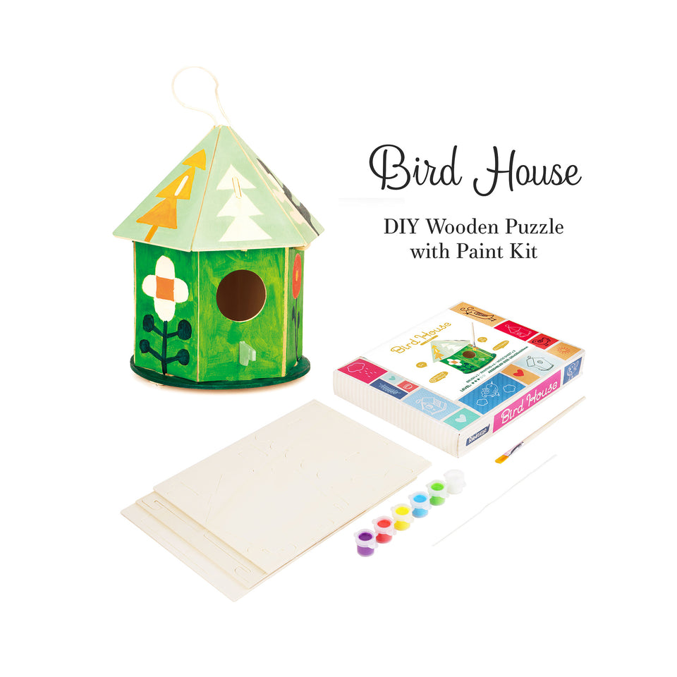 DIY Wooden Birdhouse with Paint Kit Style#197