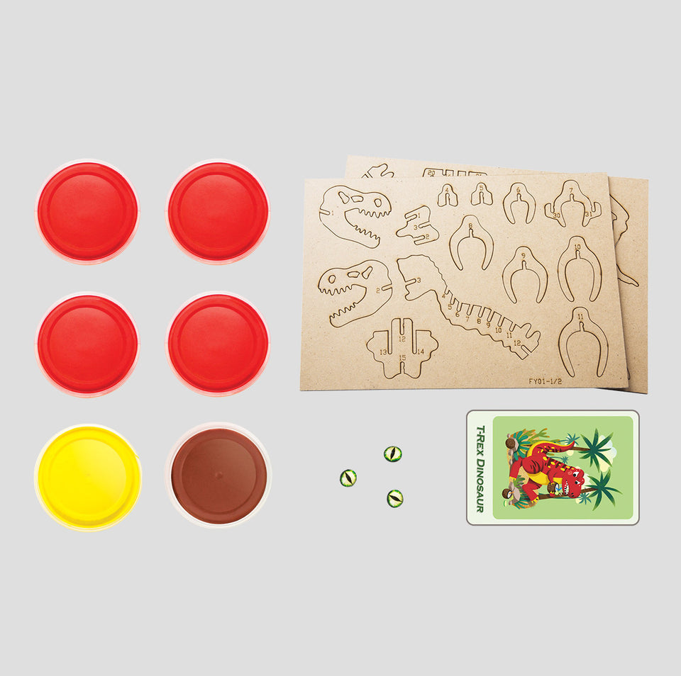 FY01 DIY 3D Wooden Puzzle with Clay Kit: T-Rex