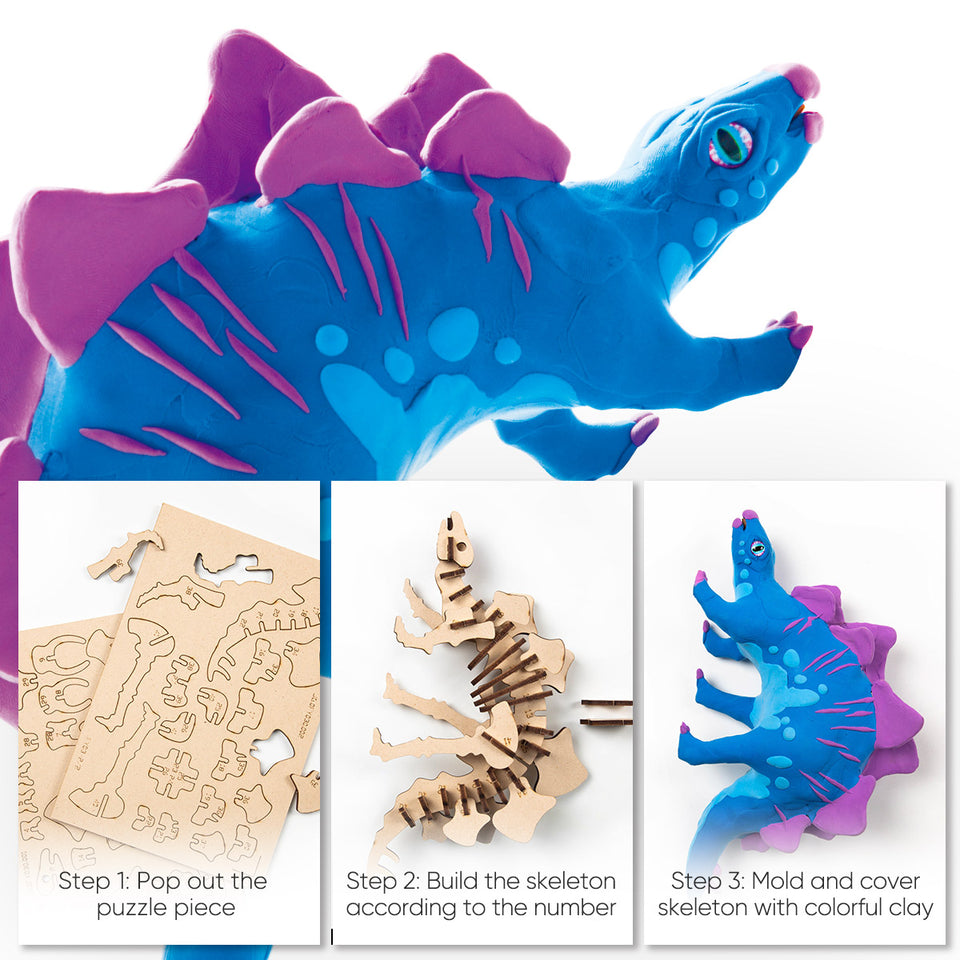 FY03 DIY 3D Wooden Puzzle with Clay Kit: Stegosaurus