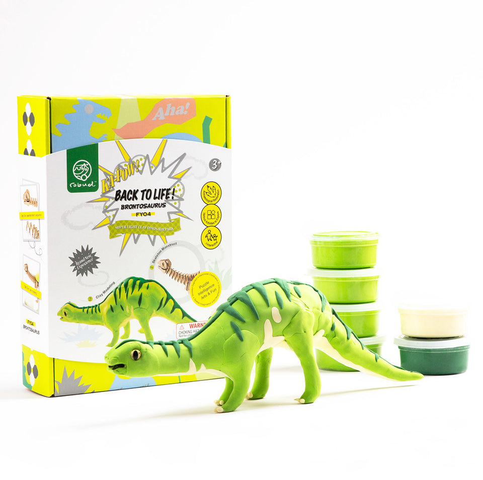 FY04 DIY 3D Wooden Puzzle with Clay Kit: Brontosaurus