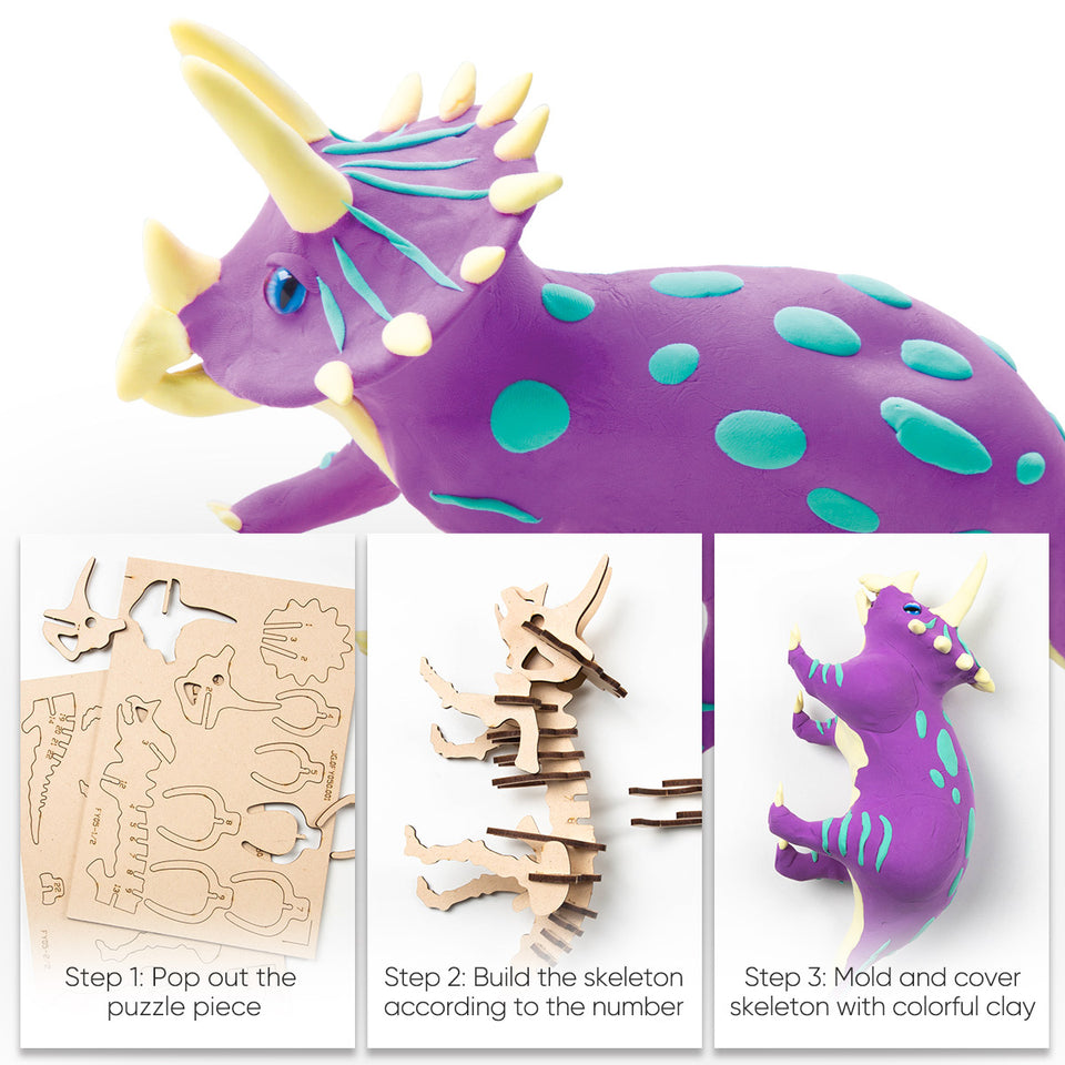 FY05 DIY 3D Wooden Puzzle with Clay Kit: Triceratops