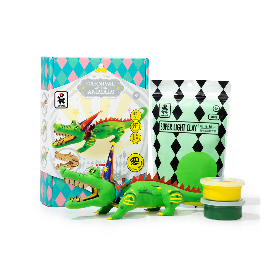 FY07 DIY 3D Wooden Puzzle with Clay Kit: Crocodile
