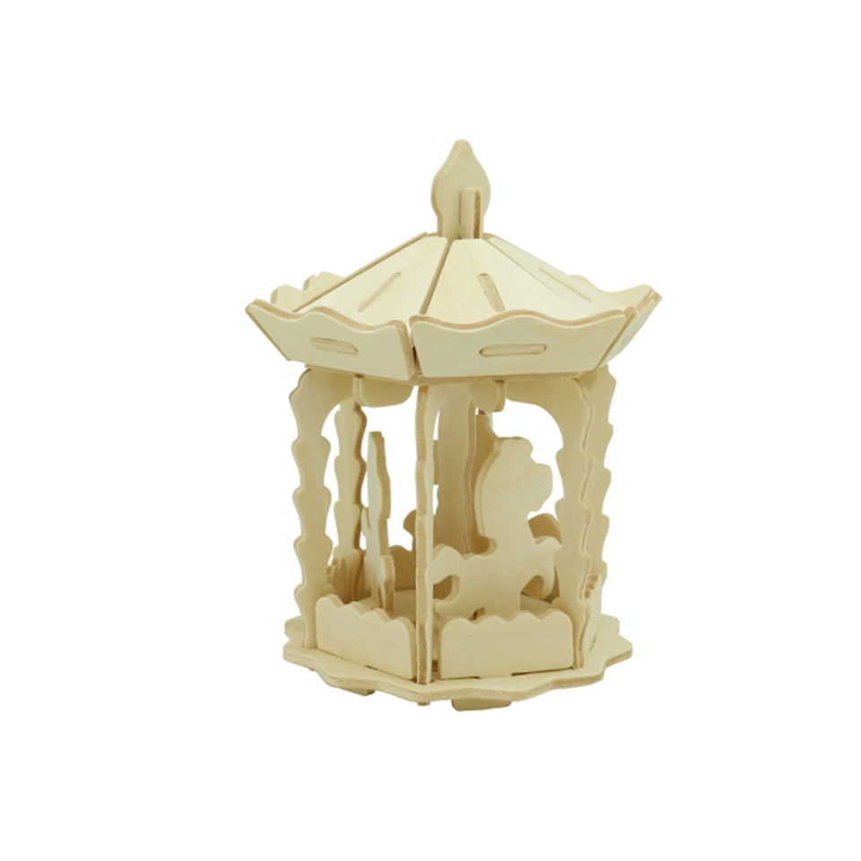 Hands Craft JP261 DIY 3D Wooden Puzzle: Merry-Go-Round