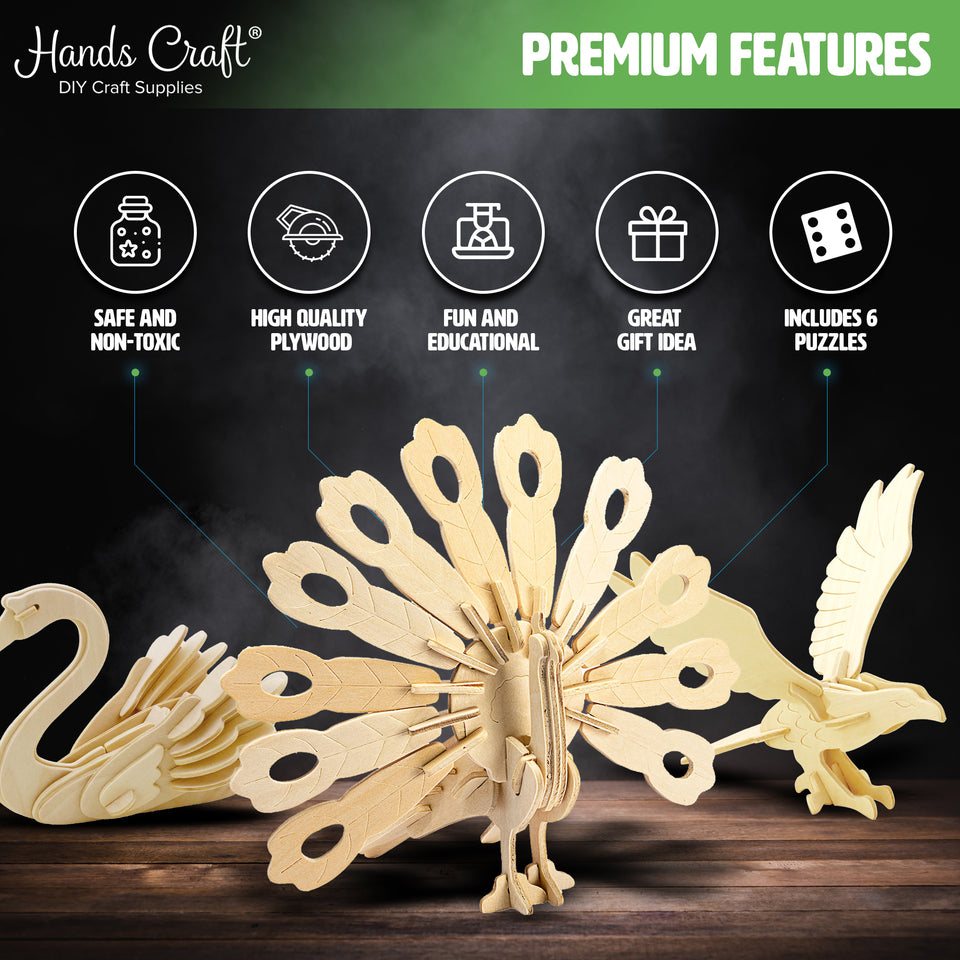 DIY 3D Wooden Puzzle 6ct Bird Animal Bundle Set
