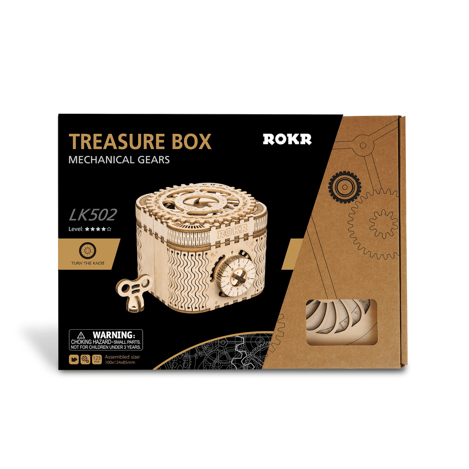 LK502, DIY Laser-Cut 3D Wooden Puzzle Mechanical Windup: Treasure Box