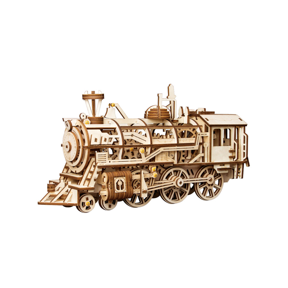LK701 DIY Laser-Cut 3D Wooden Puzzle Mechanical Windup: Locomotive