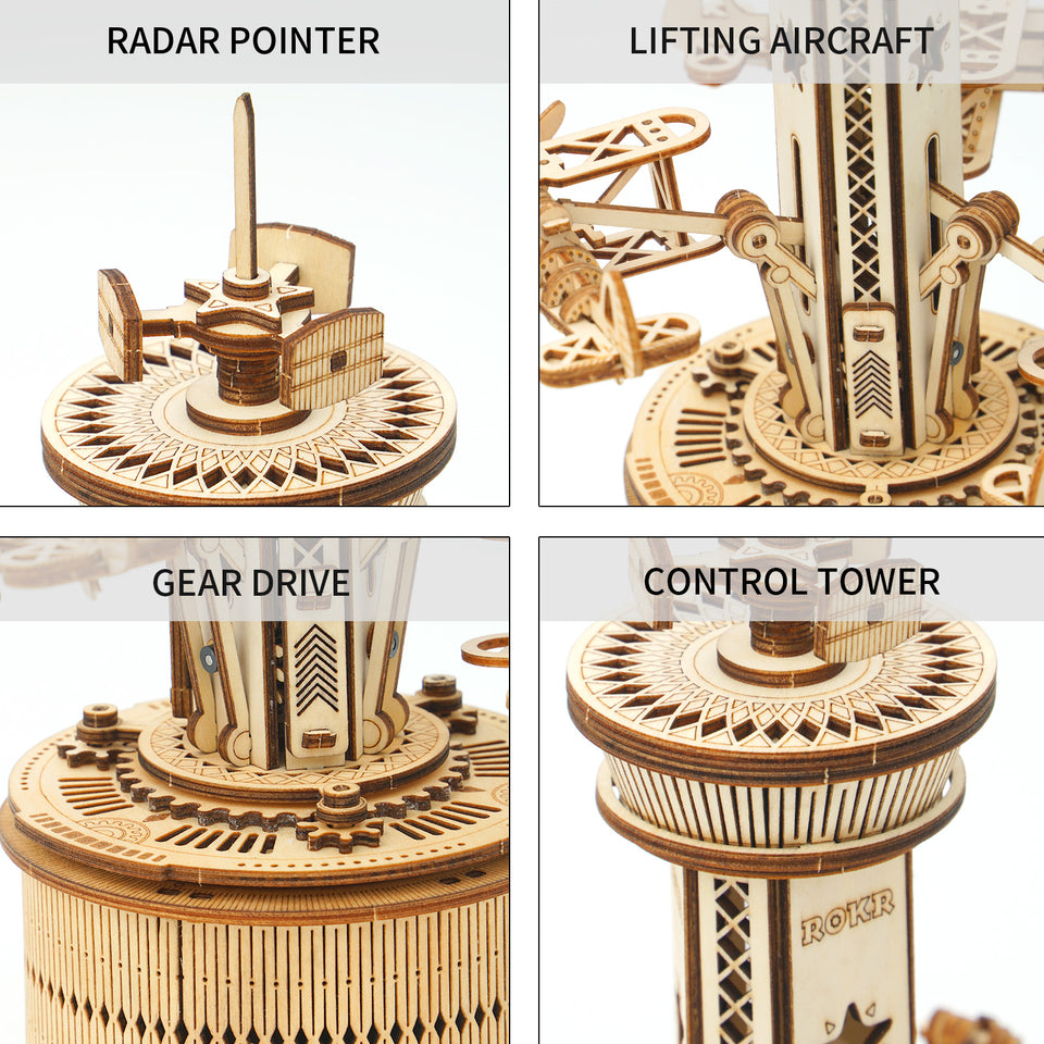 DIY 3D Wooden Puzzle Music Box | Airplane-Control Tower