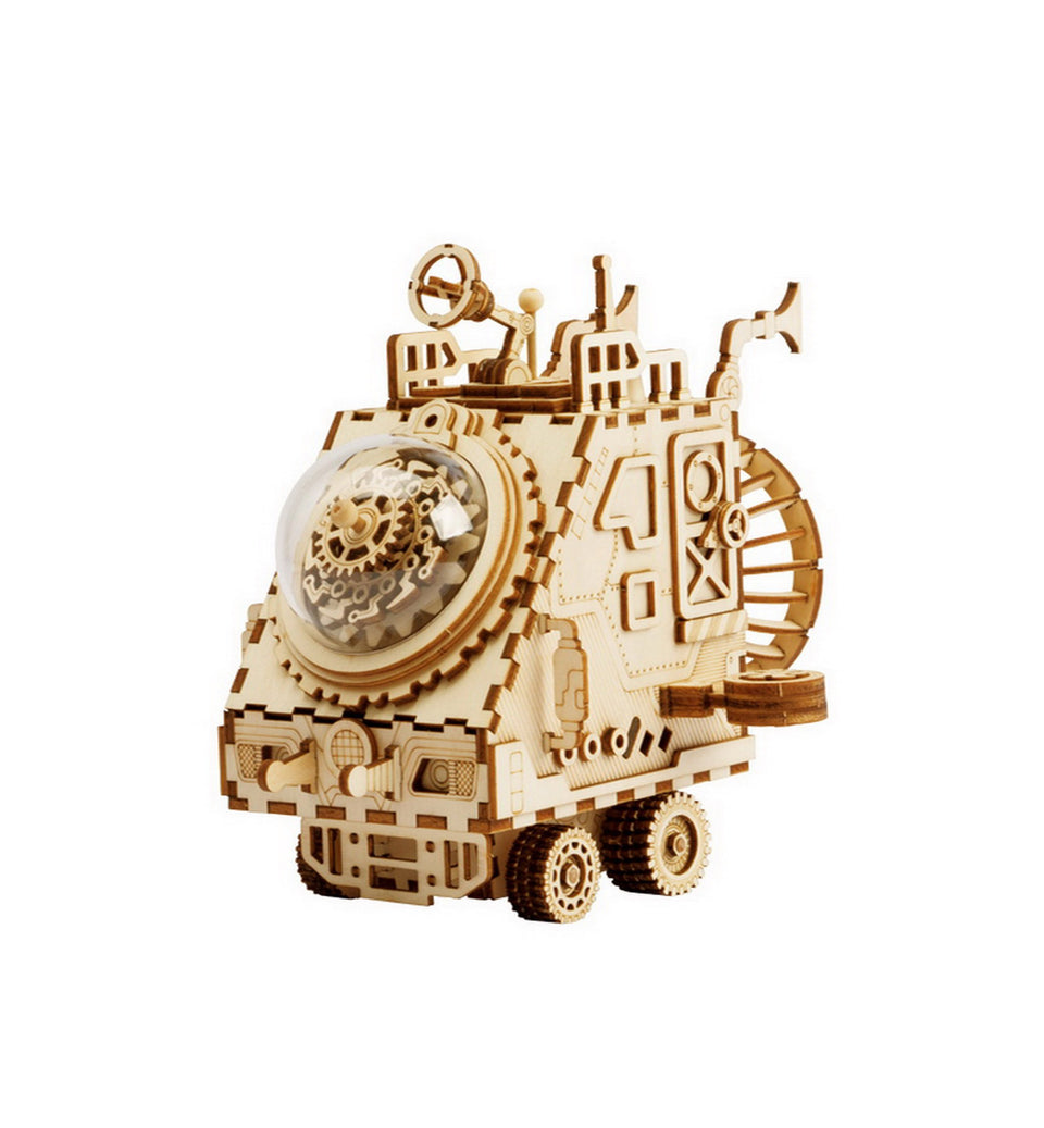 AM681 DIY 3D Wooden Puzzle Music Box: Spaceship