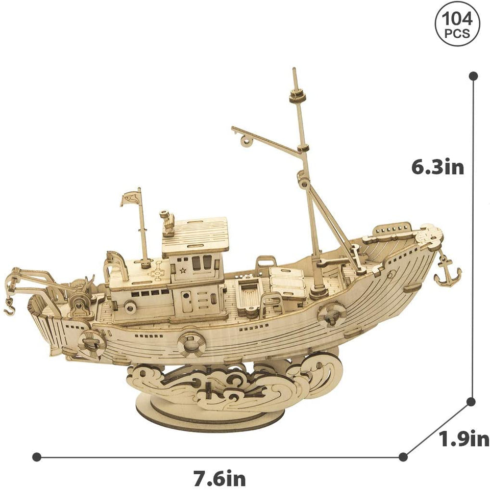 Hands Craft 3D Wooden Puzzle | Fishing Ship, 104 pcs.