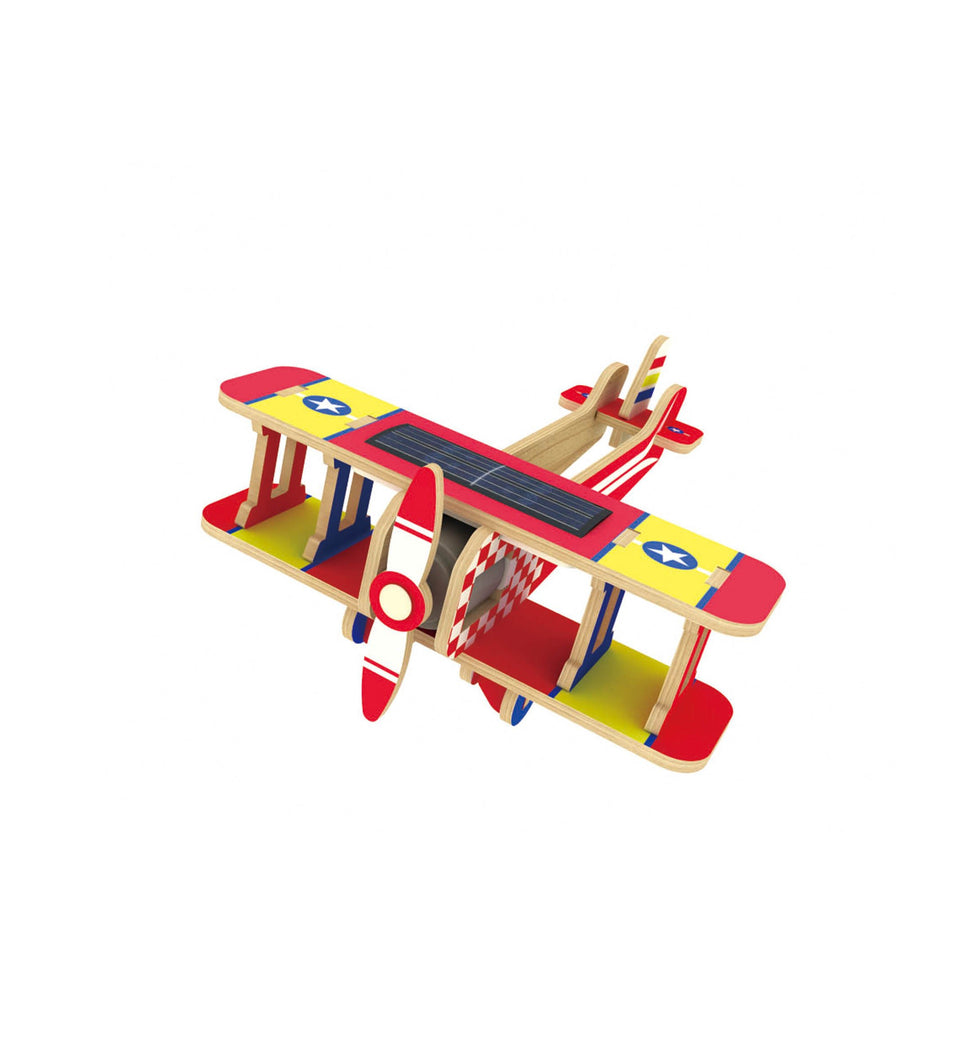 Hands Craft P220S DIY 3D Wooden Puzzle Solar Power: Biplane