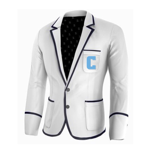 Adé Lang Columbia University Legacy Blazer - White with Navy Blue edging and Embroidered C