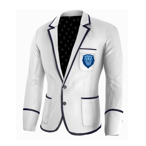 Adé Lang Columbia University Legacy Blazer - White with Navy Blue edging and Lion Head Embroidery