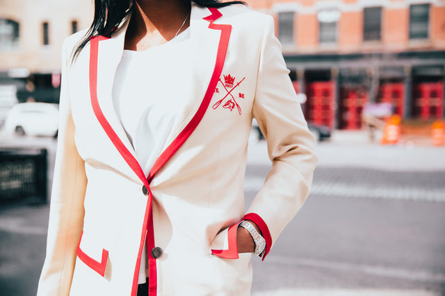 Adé Lang Beige Women's Regatta Blazer with Red Edging