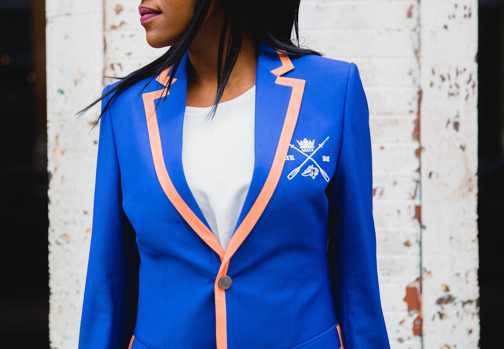 Adé Lang Blue Women's Regatta Blazer with Orange Edging
