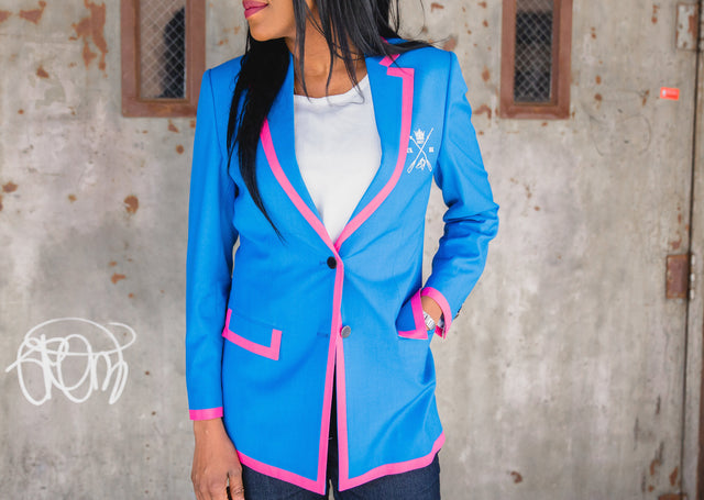 Adé Lang Blue Women's Regatta Blazer with Pink Edging