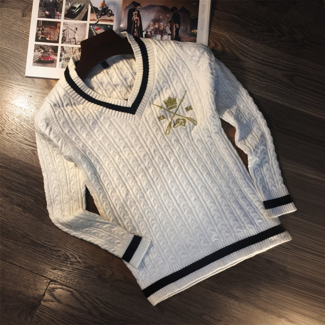 Embroidered Crossed Oar White Sweater