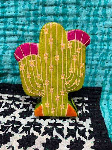 Leather Coin Bank: Cactus