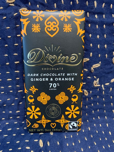 Divine Chocolate: Dark Chocolate with Ginger & Orange 70%