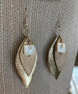 Earrings, Leather Leaf