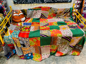 Quilt, King Sari Patchwork