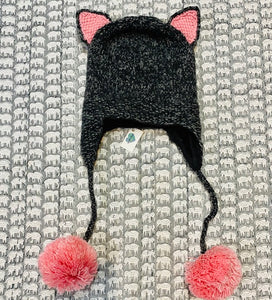 Adult Animal Hat: Grey and Pink Kitty