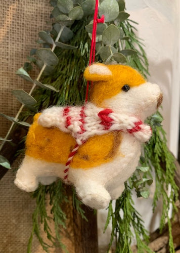 Ornament, Felted Doggie