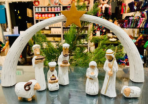 Nativity, 8 Piece Albizia Wood with Christmas Star