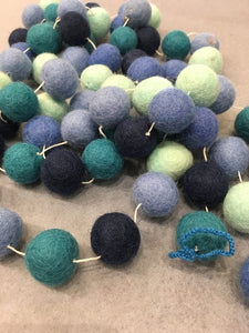 Felted Ball Garland, Blues 10ft