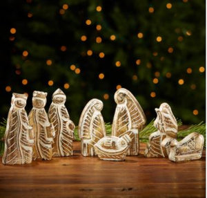 Nativity, Gold Foil Mango Wood