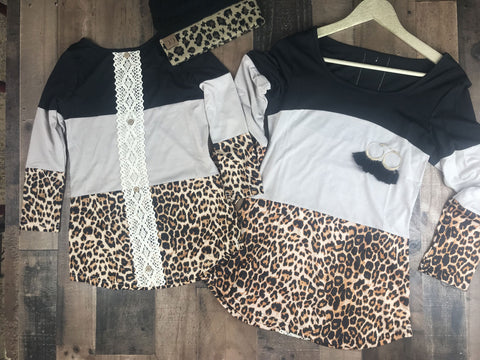 Leopard Color Block Mommy and Me Tops