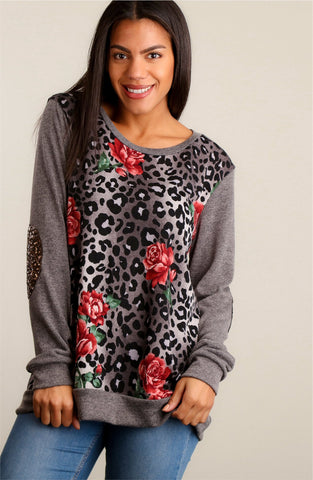 Animal Print and Roses Top