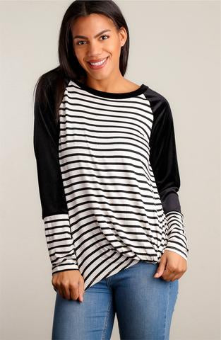 Velvet and Stripes Top