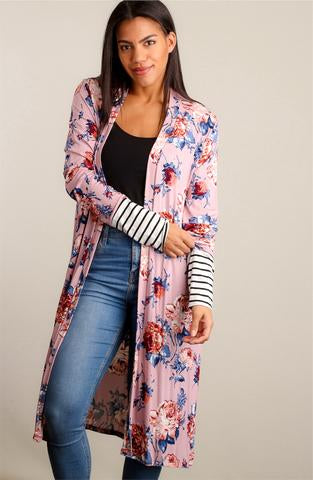 Floral and Stripes Duster