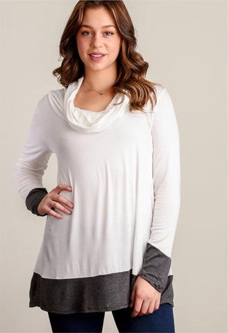 Cowl Neck Color Block Top