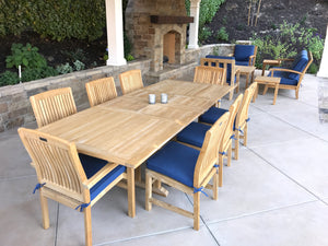 9 piece teak extension table dining set