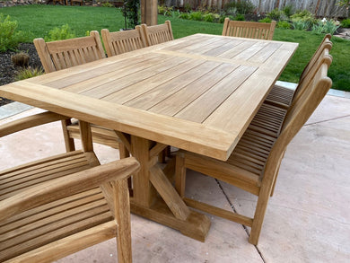 Extra Thick Trestle Table Set with 8 chairs