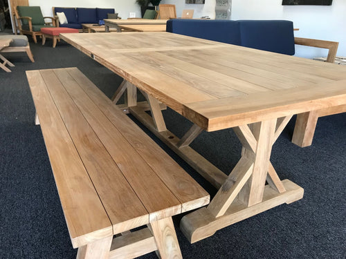 Extra thick trestle bench