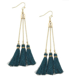 Audrey 14k Gold Teal Tassel Earrings - STYLEFOX®