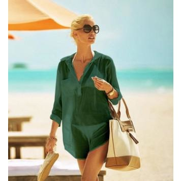 Oversize Button Up Shirt Swimsuit Cover Up - STYLEFOX®