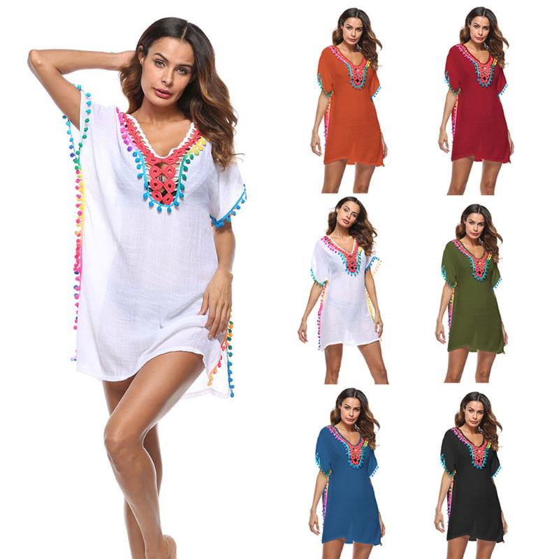 Colored Tassel Beach Swim Cover Up - STYLEFOX®