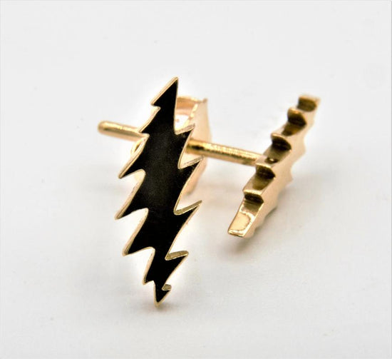 grateful daed steel your face bolt earring by jen stock, in 14kt yellow gold