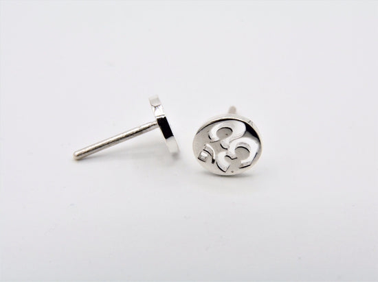open OM style earring by jen stock, sterling silver om earrings