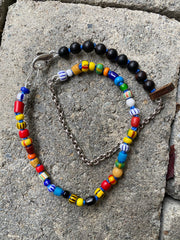 Colorful African Trade Bead Wrap Bracelet / Choker / Mask Chain